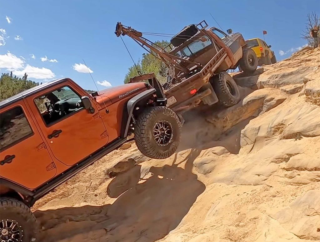 Jeep getting towed out of a canyon in Utah