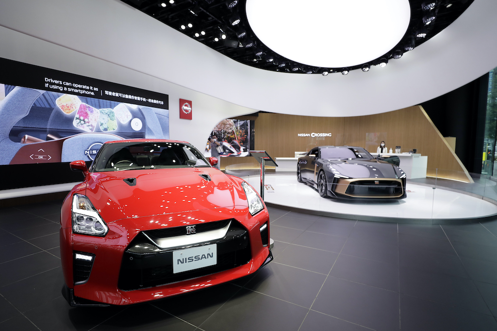 A red nissan gtr on display