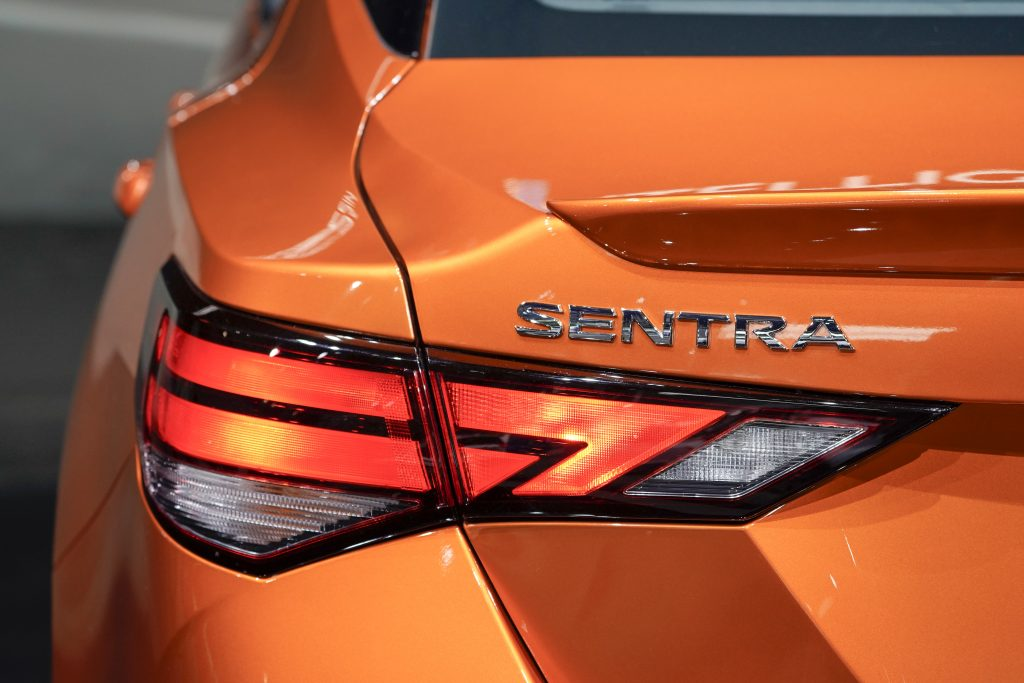 The rear light of a Nissan Motor Co. Sentra vehicle is seen during AutoMobility L