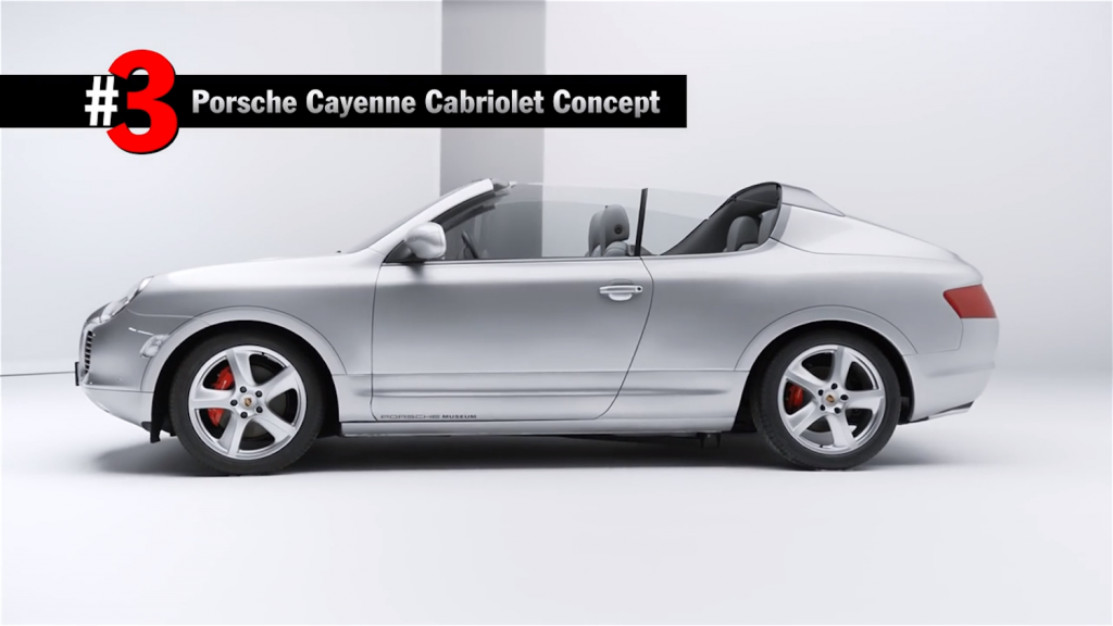 Cayenne Cabriolet concept car in silver on a white background