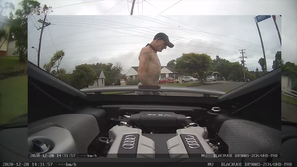 The alleged car thief who stole an Audi R8 caught on the camera inside the car