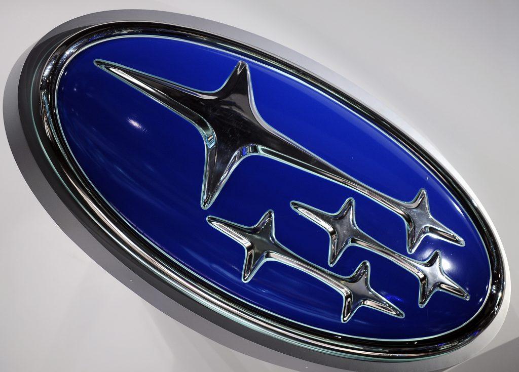 Blue and chrome Subaru emblem