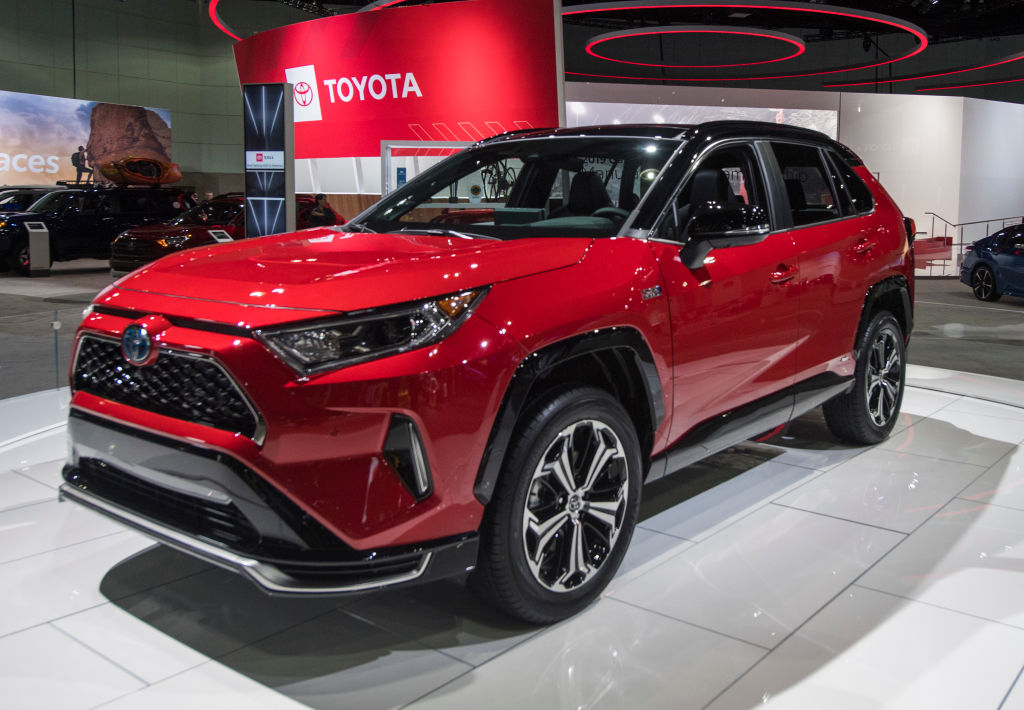 A red toyota rav4 prime in display