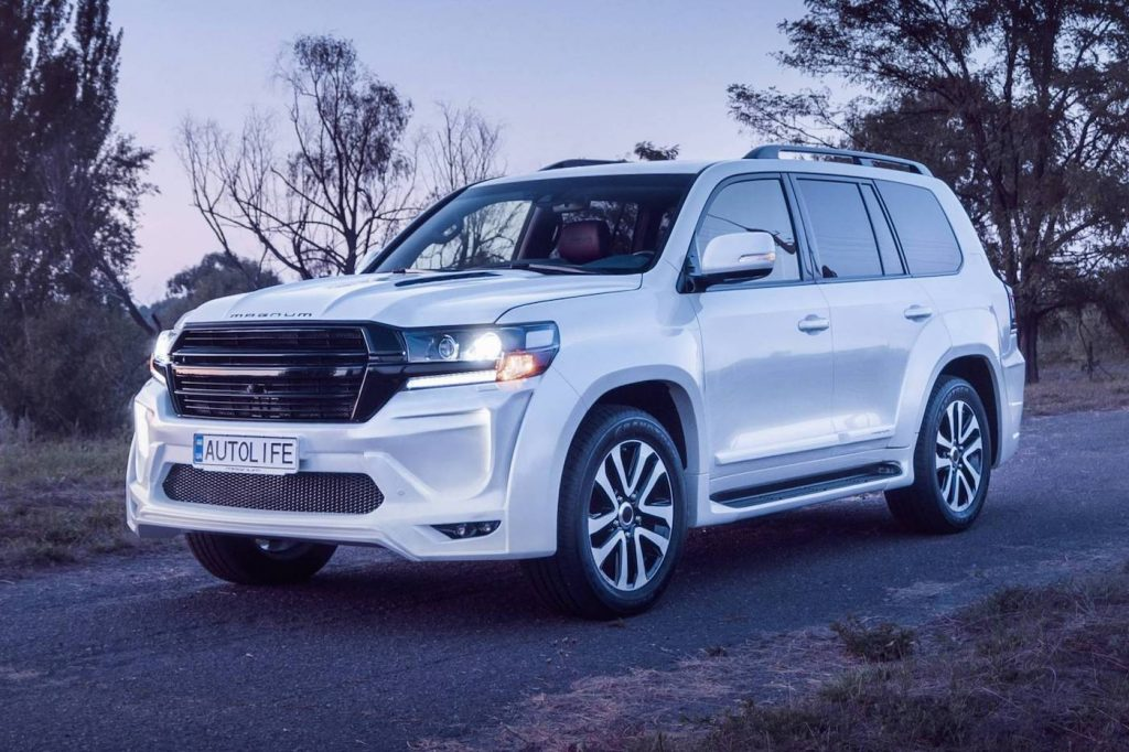 The 2020 Toyota Land Cruiser 200 Series on the road