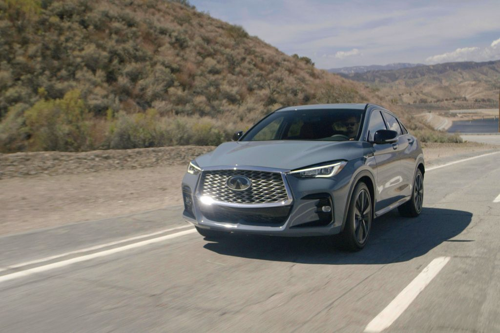 The 2022 Infiniti QX55 driving on the road
