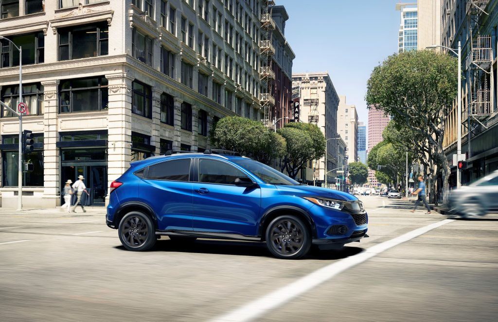 The 2021 Honda HR-V driving in the city