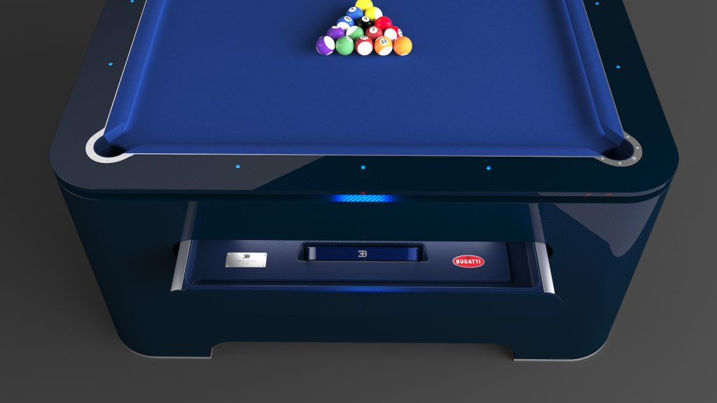 An image of a Bugatti pool table finished in blue.
