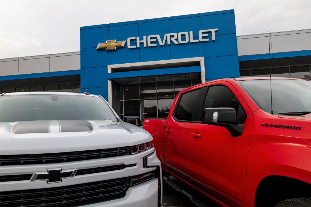 Two new Chevroley Chevy Silverado at the dealership