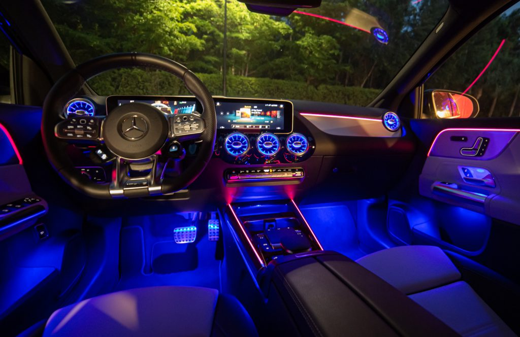 The interior of the 2021 Mercedes-AMG GLA 35