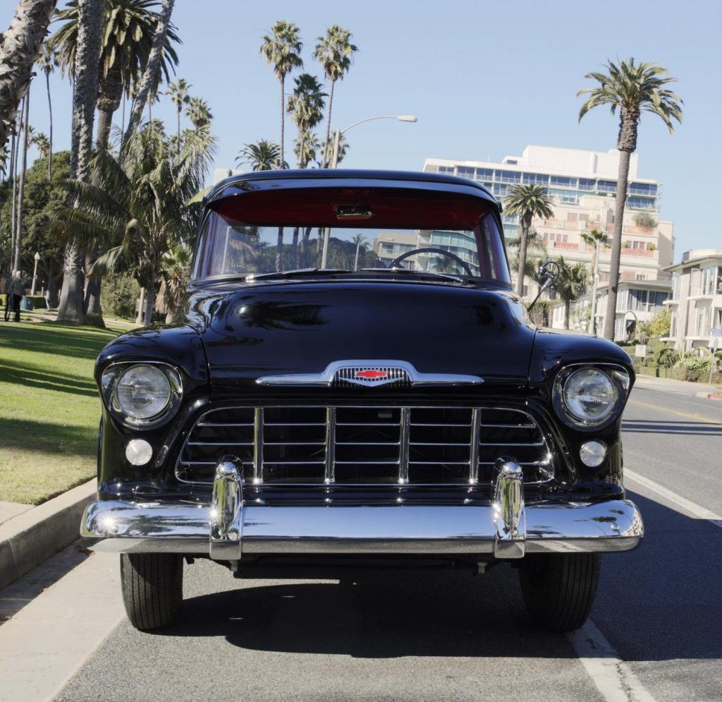 Front grille of a vintage chevy pickup truck