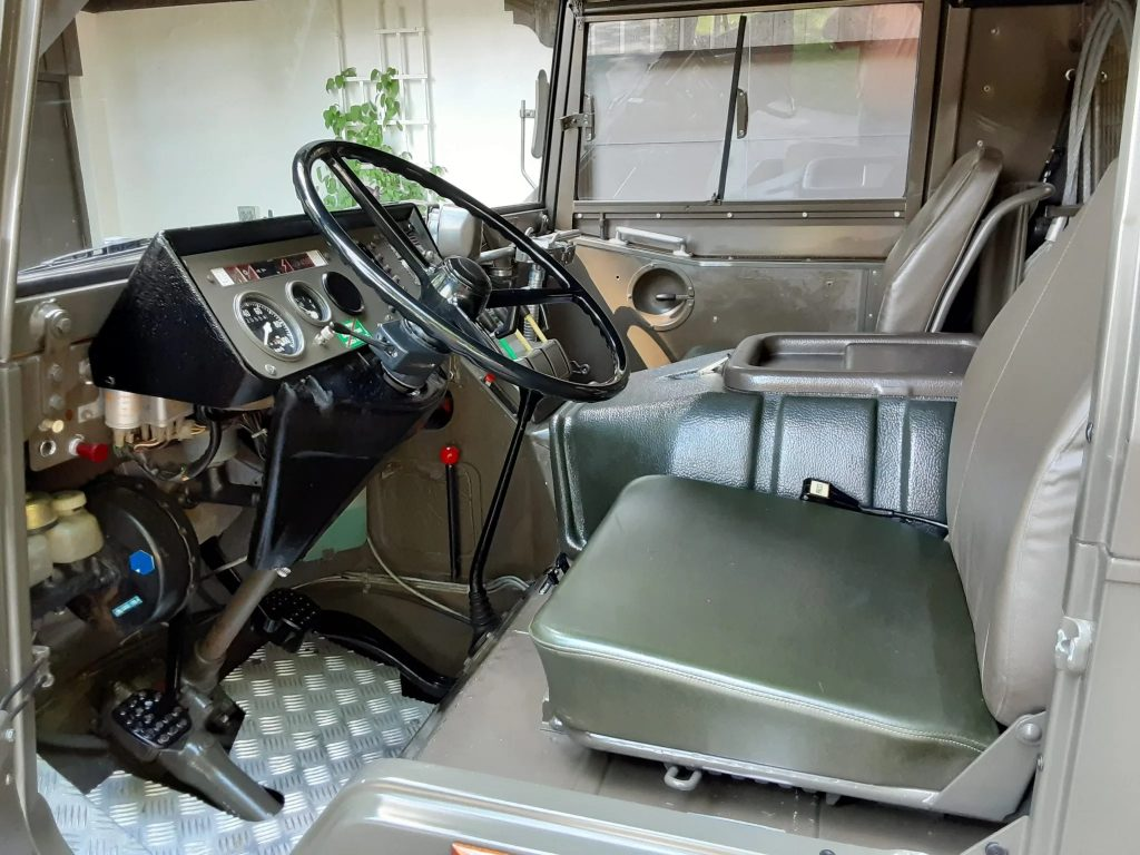 The front passenger compartment of Bob Lutz's 1973 Steyr-Puch Pinzgauer 710M
