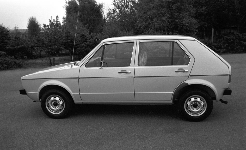 The 1974 Volkswagen Golf sedan, the first year of the model's release