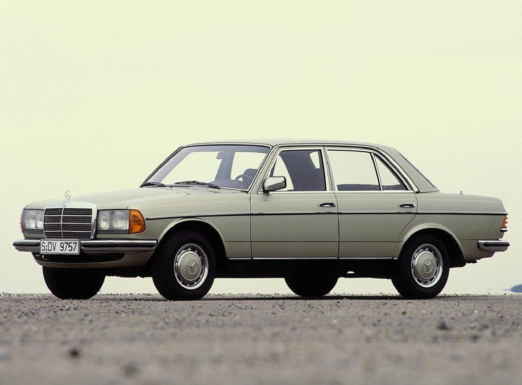 A tan 1976 W123 Mercedes-Benz 280E