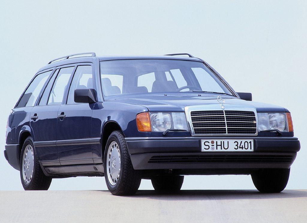 A dark-blue 1988 W124 Mercedes-Benz E-Class Wagon