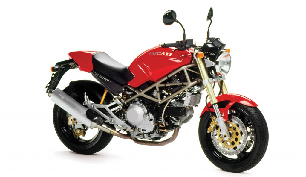 A red 1993 Ducati Monster M900