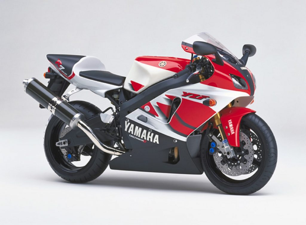 A red-black-and-white 1999 Yamaha YZF-R7