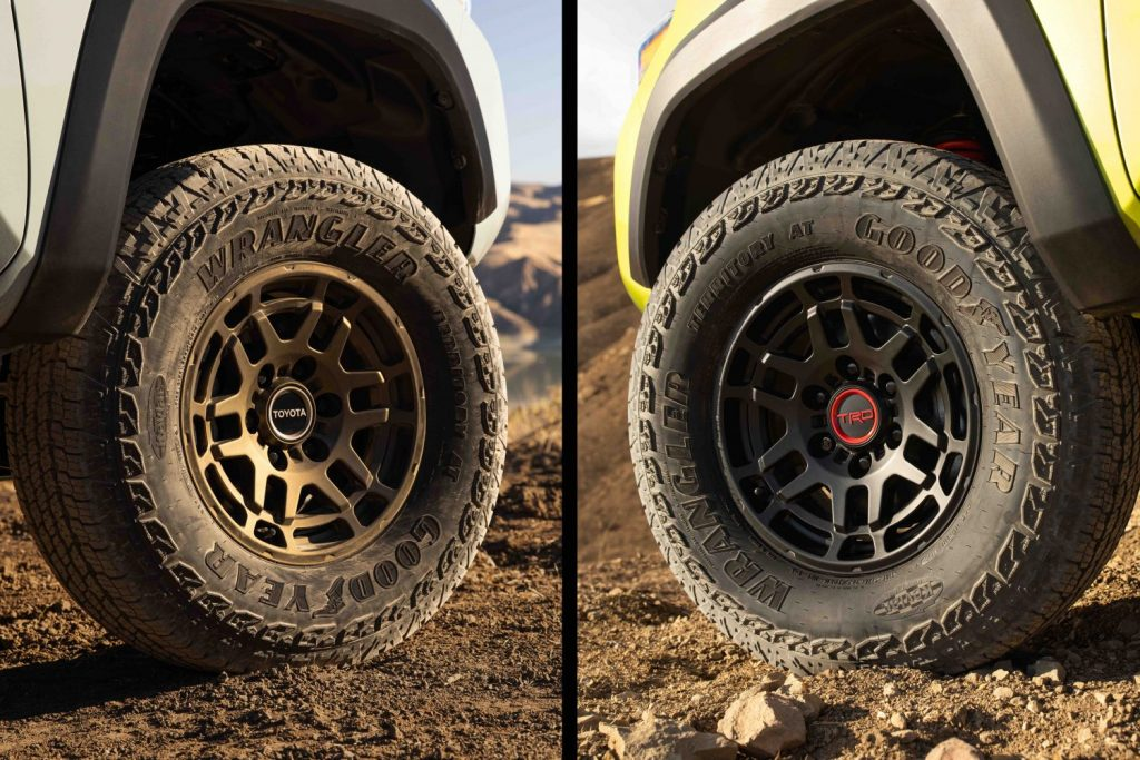 a split image of two different Toyota Tacoma wheels in the dirt