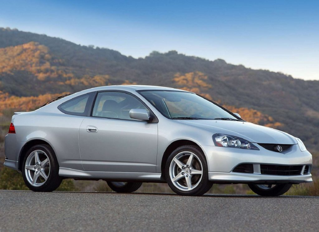 A silver 2005 Acura RSX Type S on a mountain road