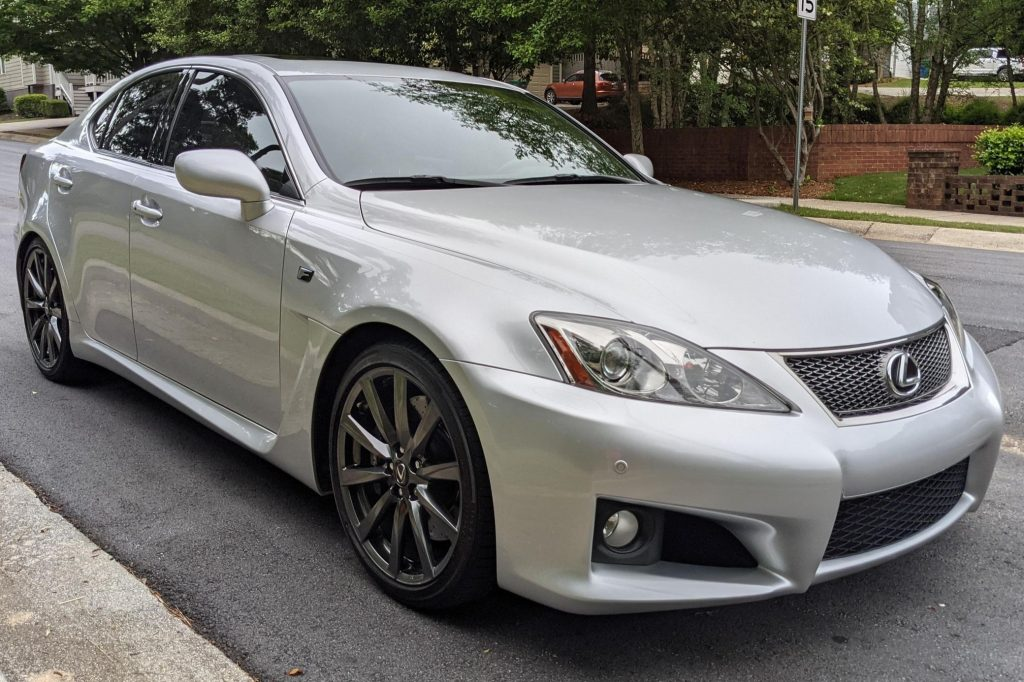 The front 3/4 view of a silver 2008 Lexus IS F parked on the street