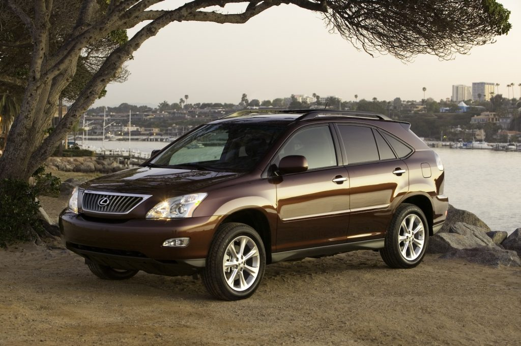 A 2008 Lexus RX 350 parked by water, the 2008 Lexus RX 350 is one of the best used luxury SUVs under $10,000