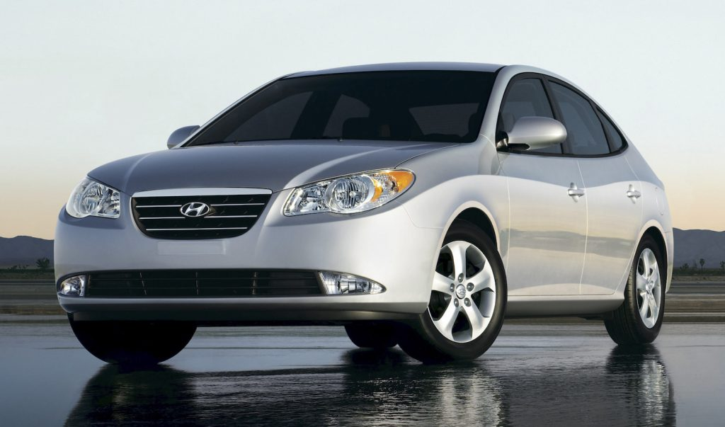 A silver 2009 Hyundai Elantra, the Elantra is one of the best cheap used cars under $5,000