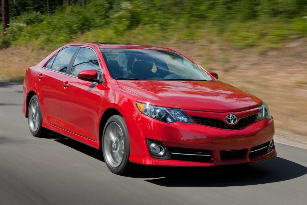 A red 2012 Toyota Camry, one of the best used cars under $10,000
