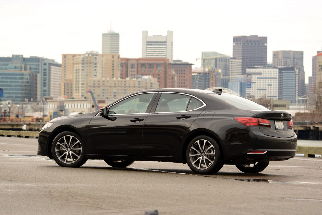 A 2015 Acura TLX parked, one of the best used luxury cars under $20,000