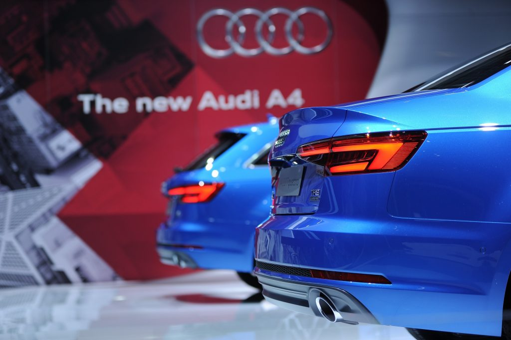 Audi Motor Co's New blue Audi A4 is displayed during the Tokyo Motor Show at Tokyo Big Sight on October 29, 2015