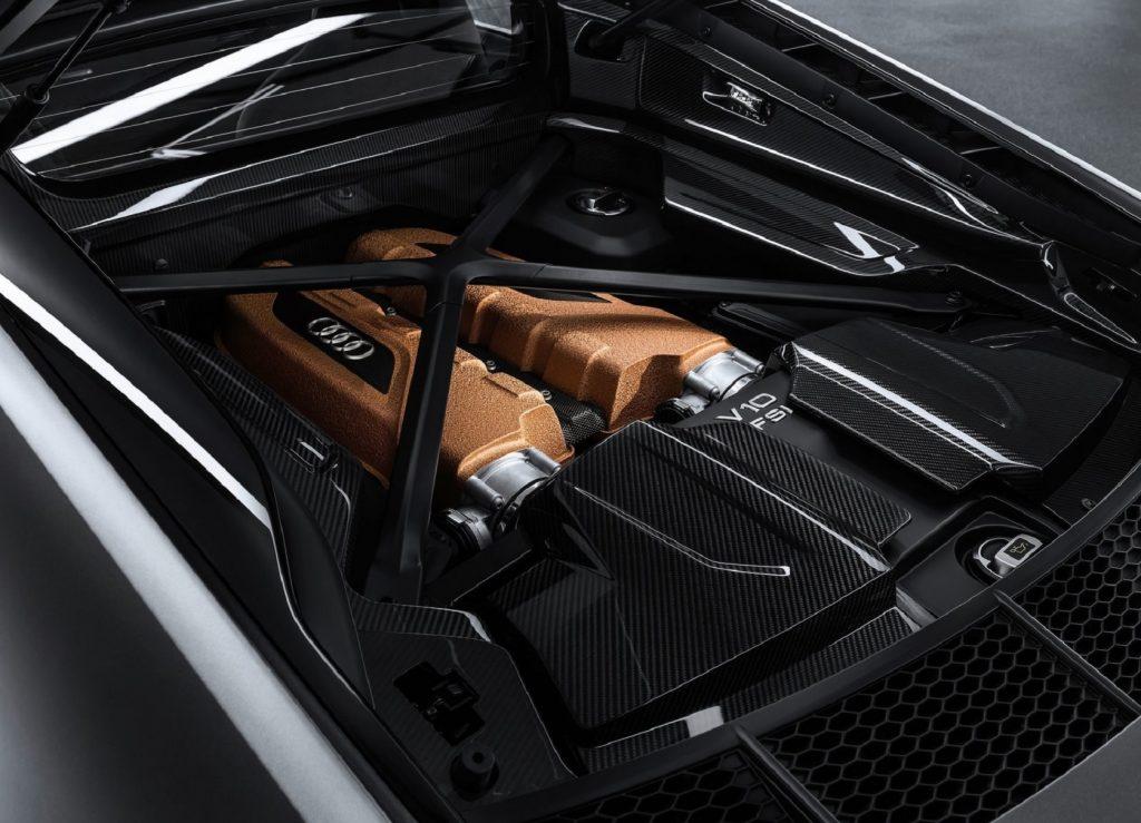 The bronze-painted V10 engine in a matte-black 2020 Audi R8 V10 Decennium