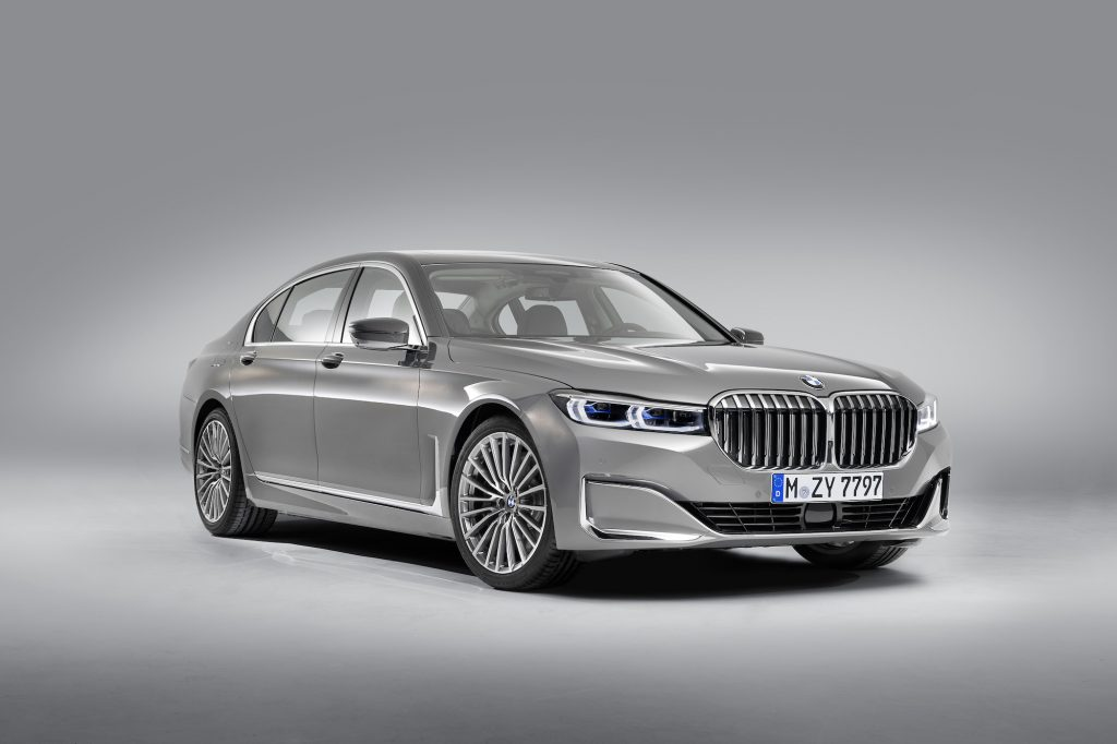 A silver 2020 BMW 7 Series parked in a photo studio exemplifies one of the BMW models with the worst resale value.