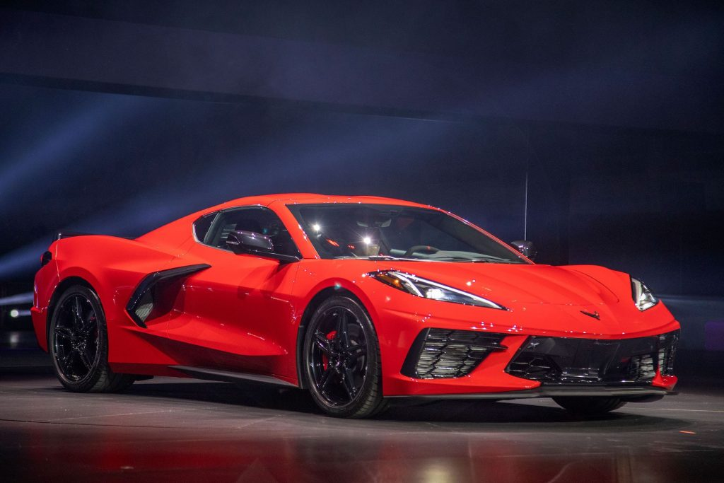 A red mid-engine 2020 Chevy Corvette Stingray at the Next Generation Corvette Reveal event in Irvine, California, on July 18, 2019