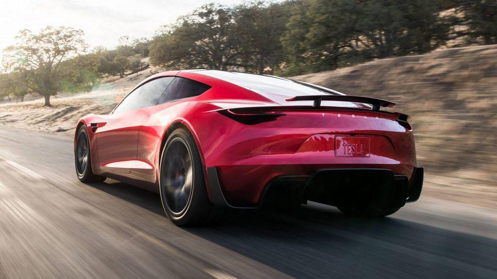 rear 3/4 view of Tesla Roadster