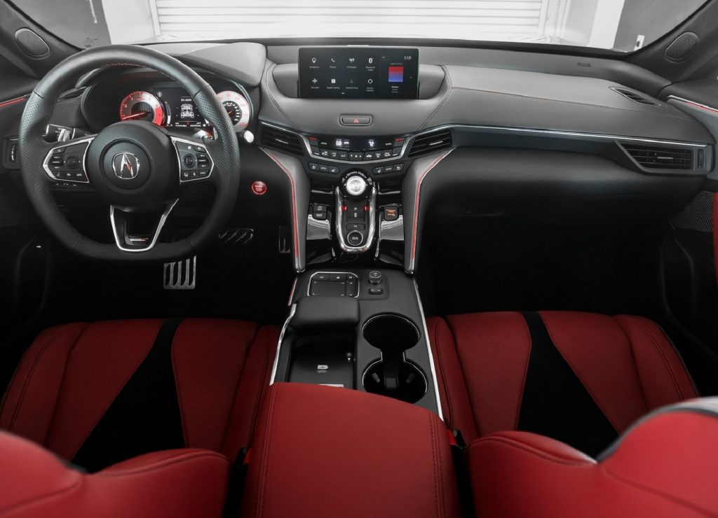 The red-leather front seats and black-leather dashboard of the 2021 Acura TLX Type S