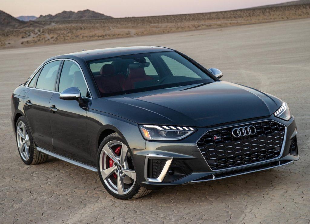 A dark-gray 2021 Audi S4 in the desert