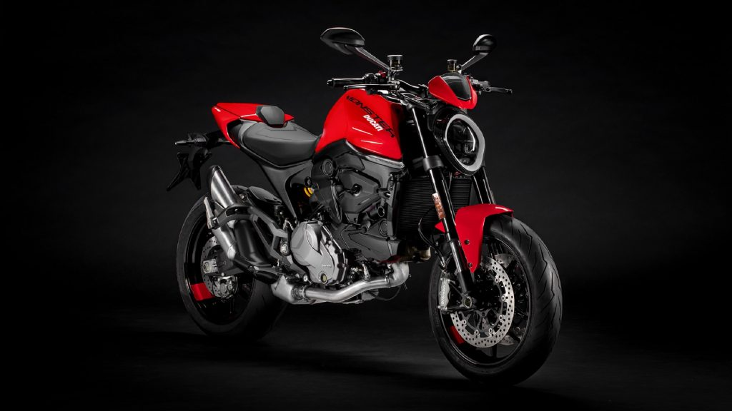 A red 2021 Ducati Monster
