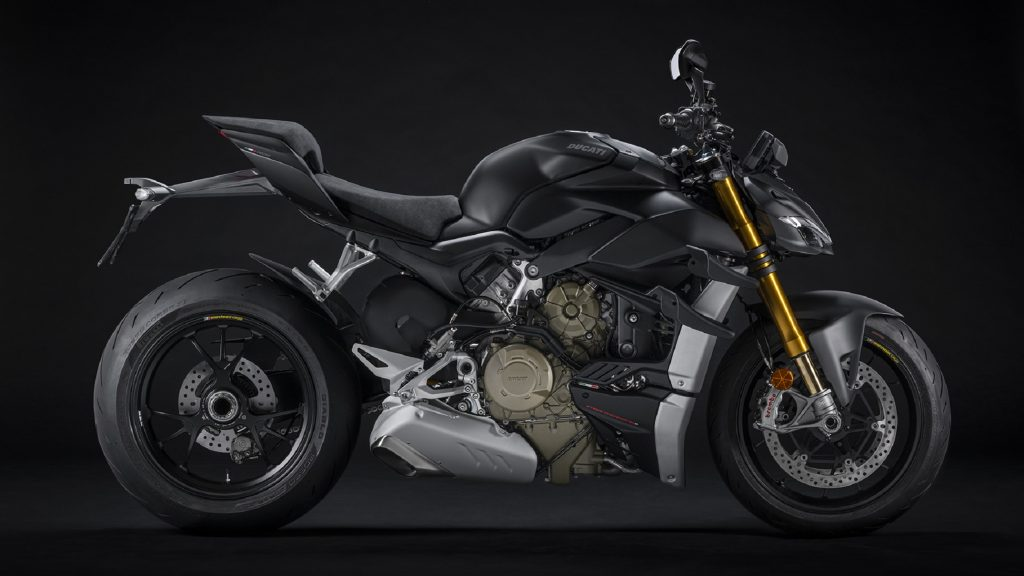 The side view of a black 2021 Ducati Streetfighter V4 S