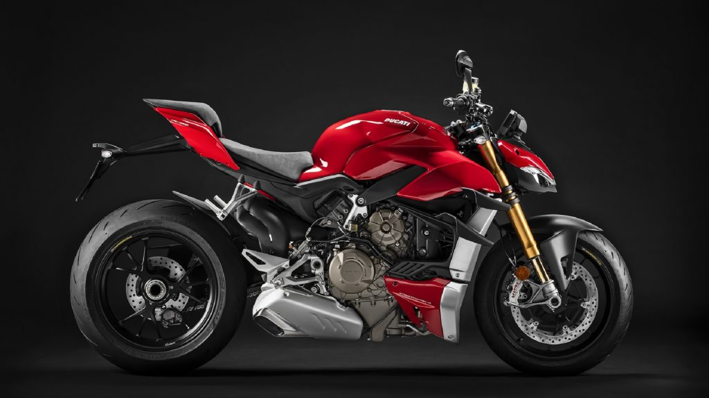 The side view of a red 2021 Ducati Streetfighter V4