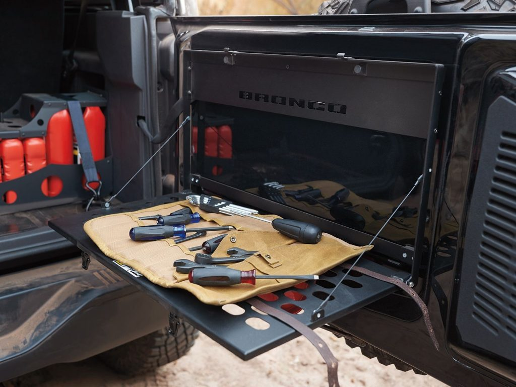 work station flipped down on Ford Bronco