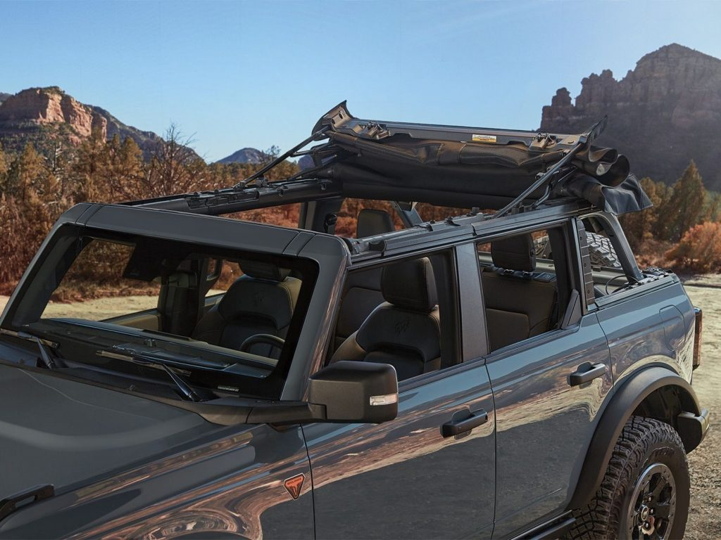 the retractable soft-top roof for the new Bronco