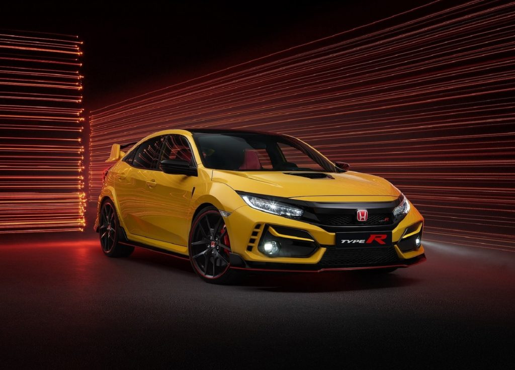 A yellow 2021 Honda Civic Type R Limited Edition