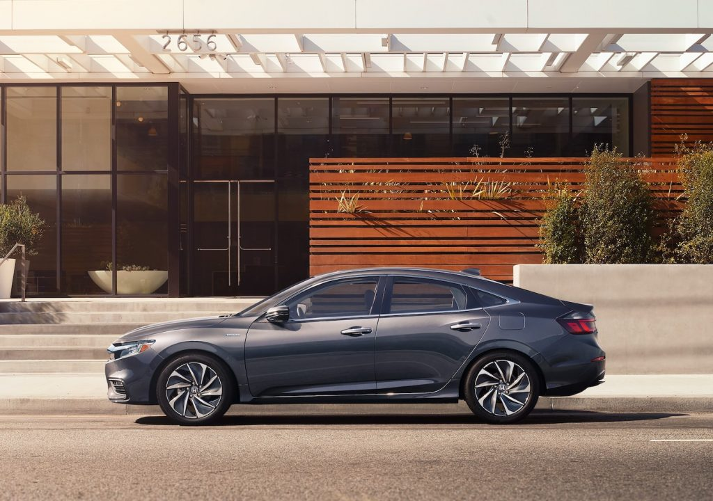 A grey 2021 Honda Insight parked, the Insight is among the best affordable new hybrids under $30,000