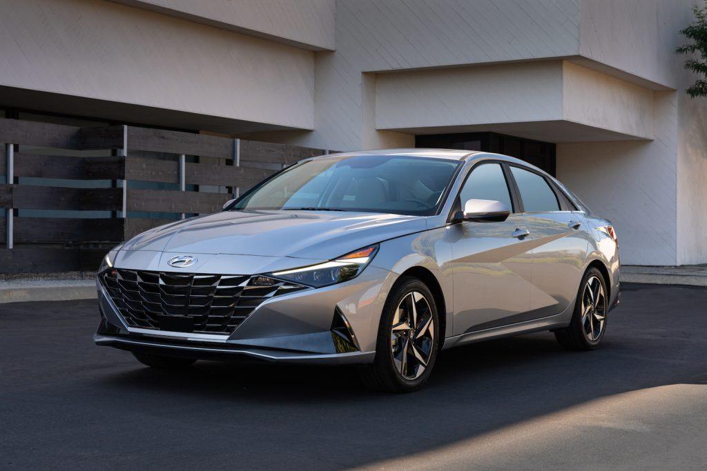A silver 2021 Hyundai Elantra parked