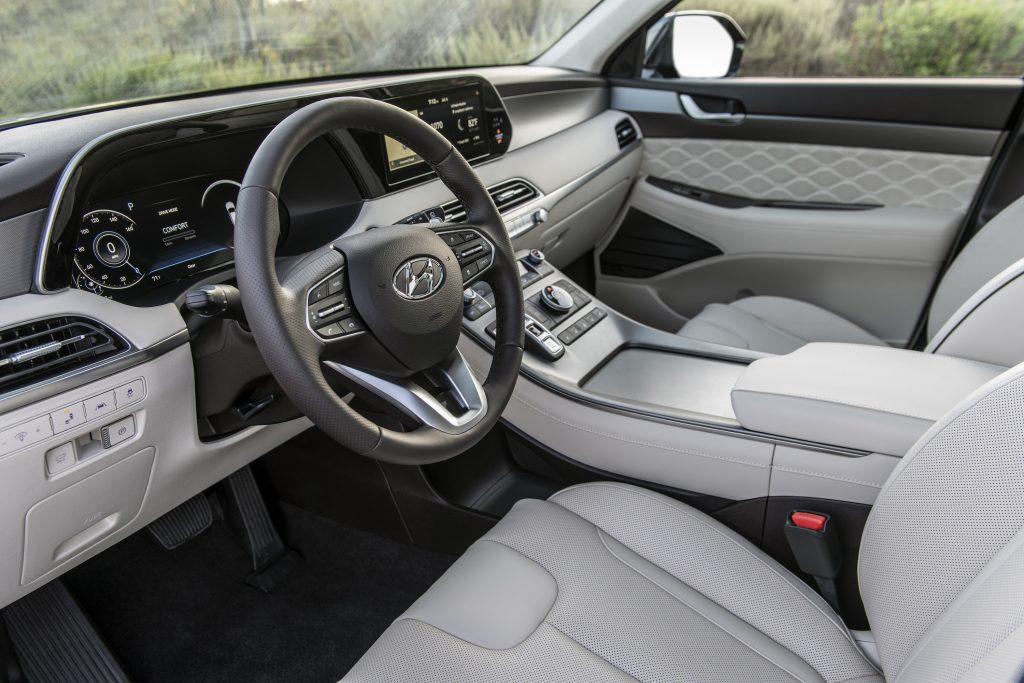 The gray interior of the 2021 Hyundai Palisade SUV