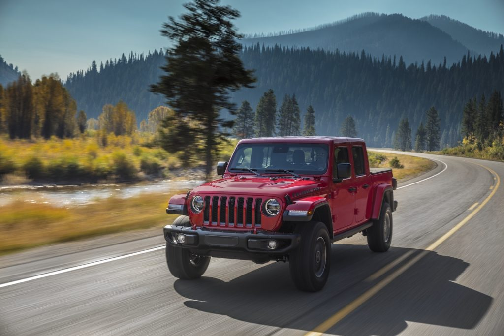 A red 2021 Jeep® Gladiator Rubicon, a stronger alternative to the Toyota Tacoma