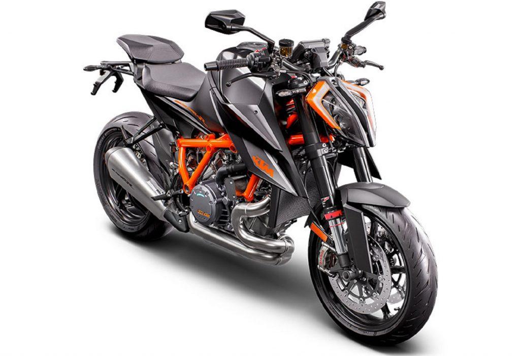 A black-and-orange 2021 KTM 1290 Super Duke R