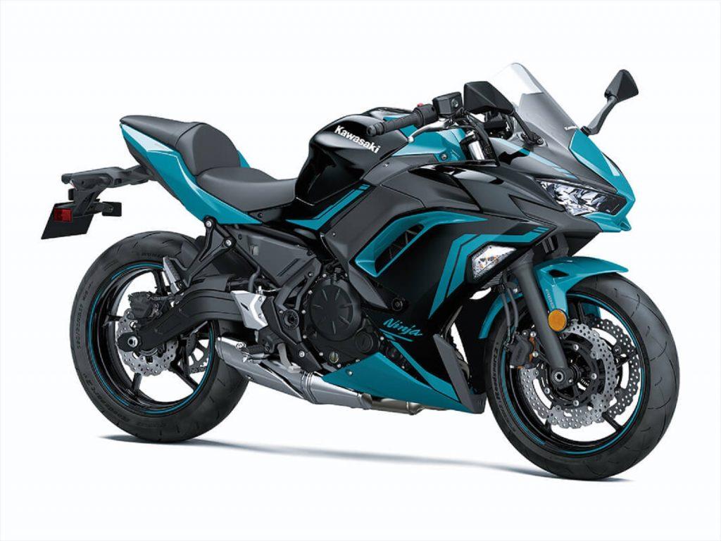 A blue-and-black 2021 Kawasaki Ninja 650 ABS