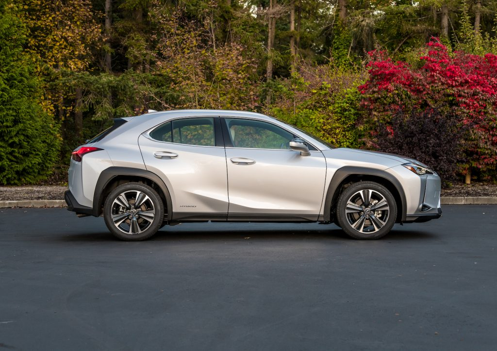 A silver 2021 Lexus UX 250h parked, one of the best affordable hybrids under $40,000