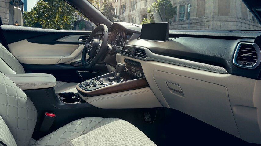 The interior of the 2021 Mazda CX-9 Signature AWD edition from the passenger side