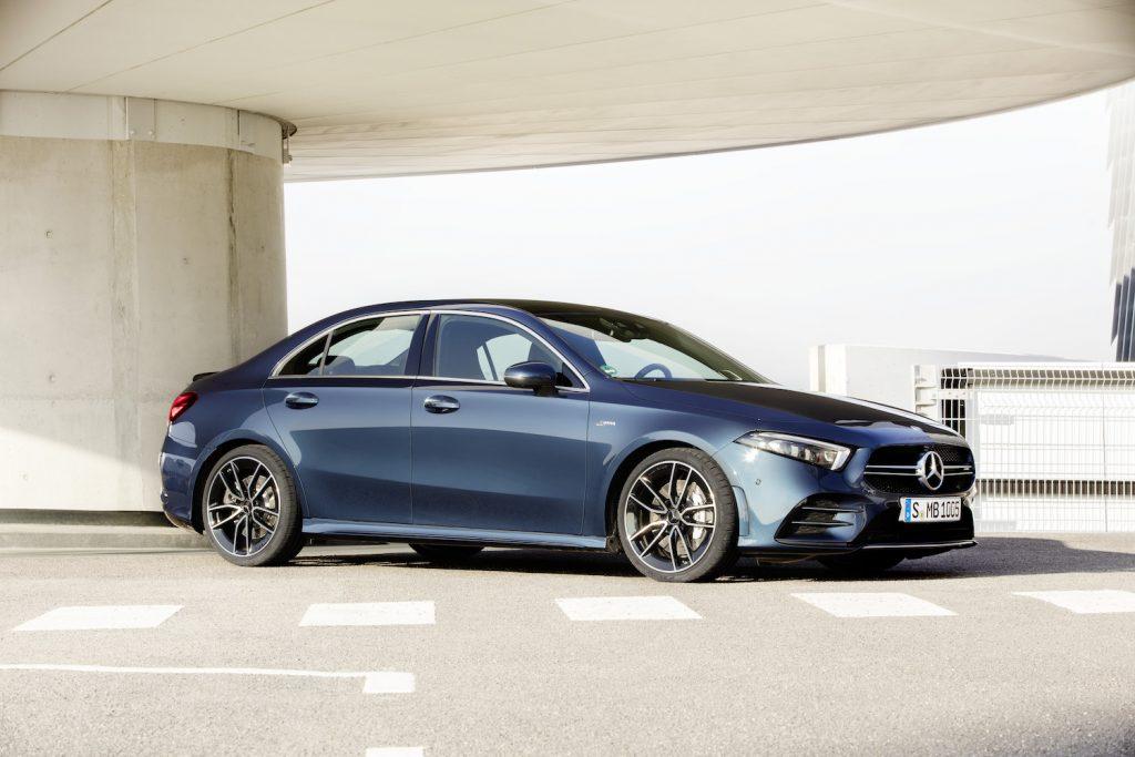 2021 Mercedes-Benz A-Class sedan parked in a garage