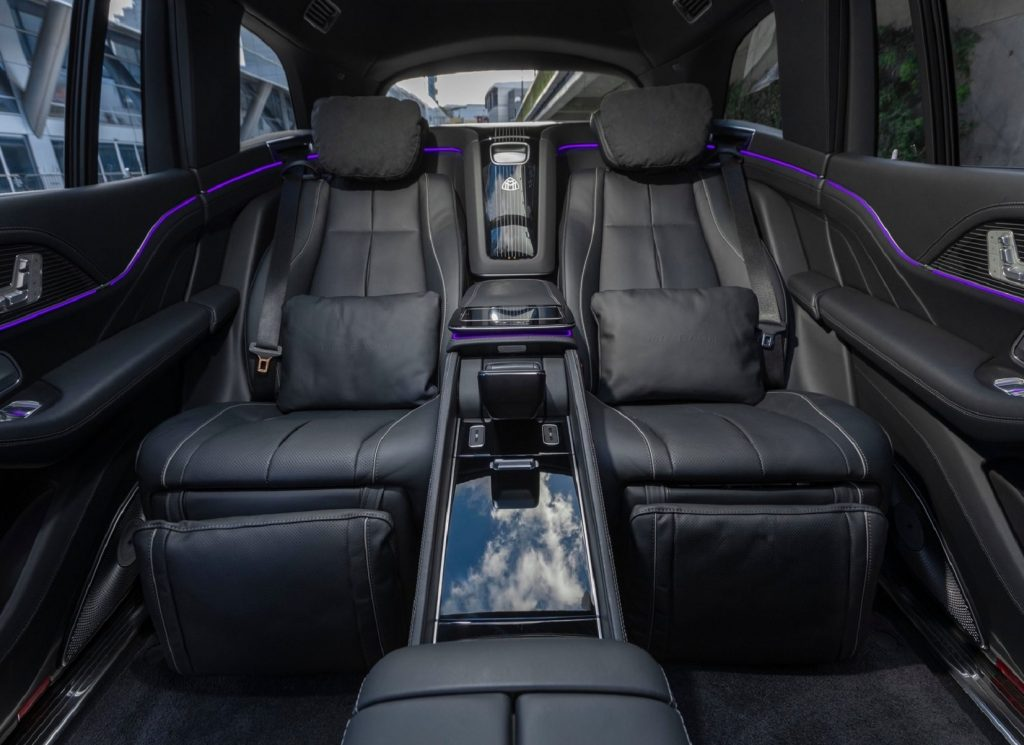 The black-leather reclining rear seats in a 2021 Mercedes-Maybach GLS 600